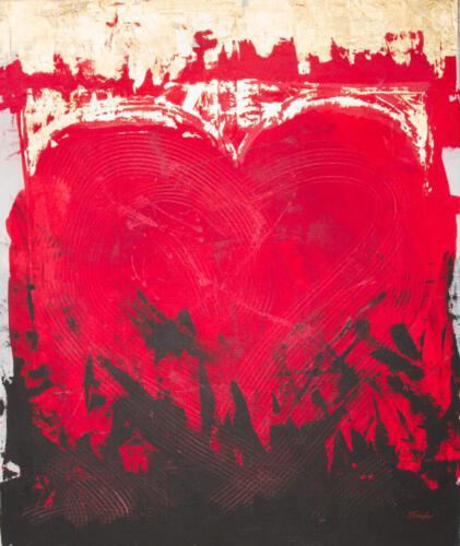 gold heart, aqryliconcanvas 100+120cm